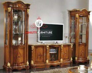 bufet tv dan lemari hias kaca classic kayu jati terbaru