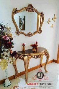 meja konsul classic ukir duco gold kayu