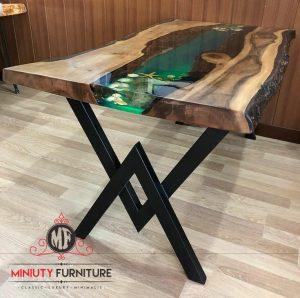 meja makan resin model terbaru kayu suar