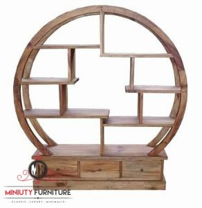 model rak buku jepang lingkar kayu jati