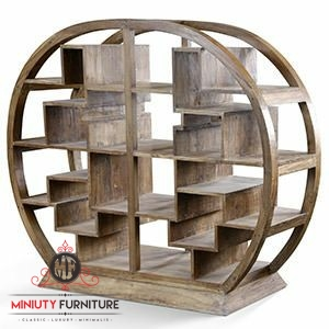 rak buku lingkar minimalis kayu jati terbaru