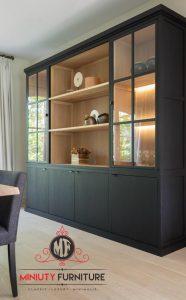 lemari pajangan kaca ruang tamu minimalis modern