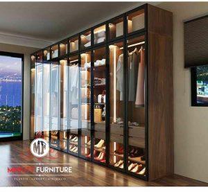 lemari pakaian mewah modern elegant pintu kaca