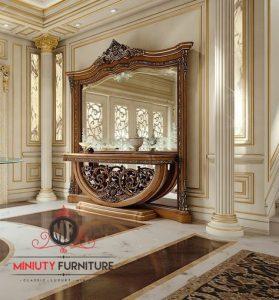 meja konsul ukir dan cermin luxury italia