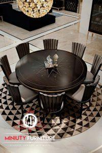 meja makan bulet chair 8 kayu jati modern
