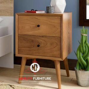 nakas tempat tidur minimalis kayu jati