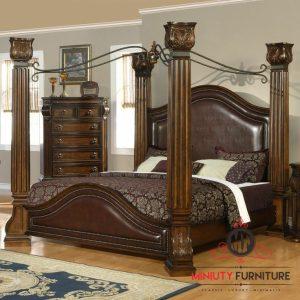 tempat tidur model kanopi kayu jati