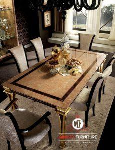 set meja makan mewah modern 6 chair