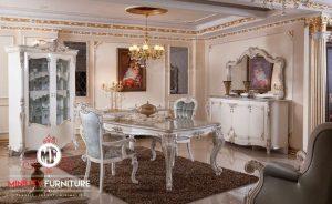 set ruang makan putih classic elegant terbaru