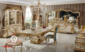 set ruang meja makan putih ukiran mewah modern