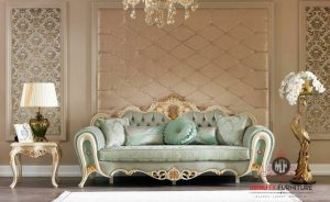 sofa santai ruang keluarga ukir duco putih