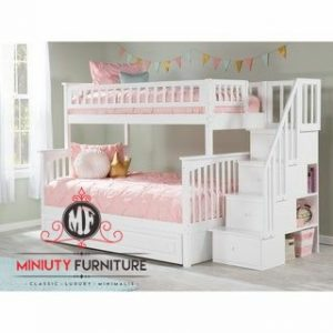 tempat tidur anak tingkat kayu duco putih
