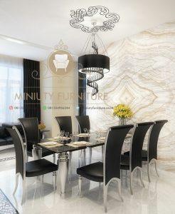 set meja makan minimalis mewah model terbaru