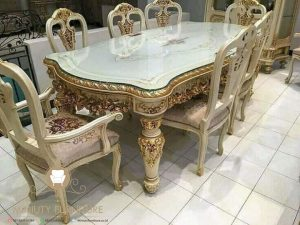 furniture meja makan full ukir mewah model terbaru