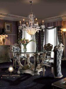 set meja makan kursi 4 mewah ukiran klasik