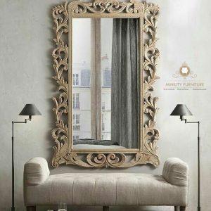 cermin hias dinding ukiran kayu jati jepara