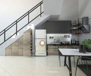 kitchen set bawah tangga minimalis