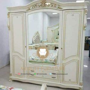 lemari pakaian pintu cermin duco putih