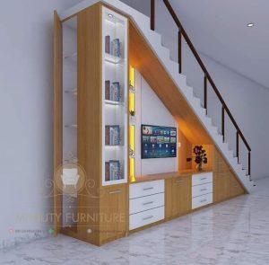 lemari tv bawah tangga multiplek HPL minimalis