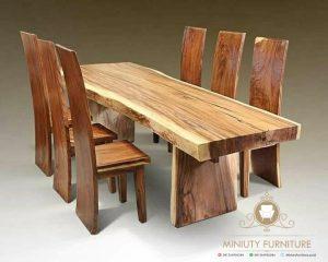 meja makan, meja cafe kayu trembesi