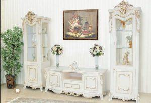 set bufet lemari hias tv mewah arabian