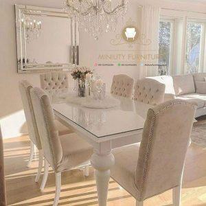 set meja makan duco putih klasik modern