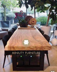 set meja makan kayu trembesi mewah model terbaru