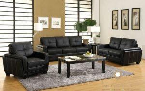 set sofa ruang tamu hitam
