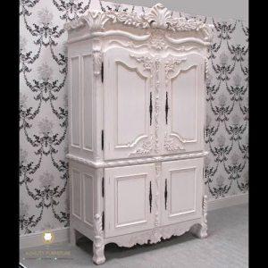 almari pakaian 2 pintu duco putih kayu jati model terbaru