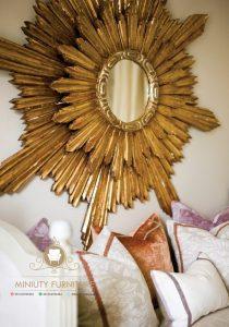 cermin hias dinding kayu jati