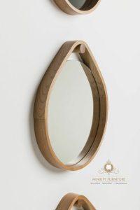 cermin hias gantung model oval kayu jati