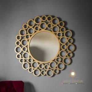 figura cermin dinding motif bulat modern