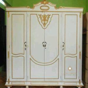 lemari baju pintu 4 duco putih kayu jati jepara