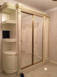lemari pakaian sleding duco putih modern