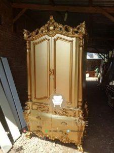 lemari pakaian ukir modern 2 pintu kayu jati