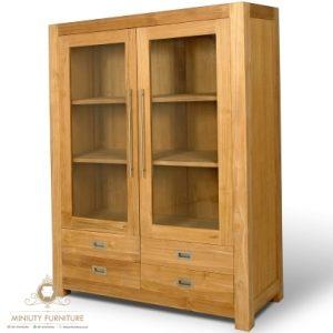 lemari rak buku minimalis kayu jati jepara