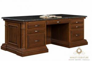 meja kantor top table marmer kayu jati