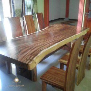 meja makan blok kayu trembesi model terbaru jepara