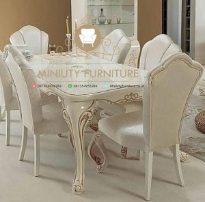 meja makan ukir klasik duco putih