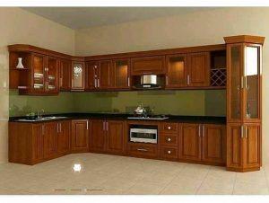 model kitchen set minimalis kayu jati