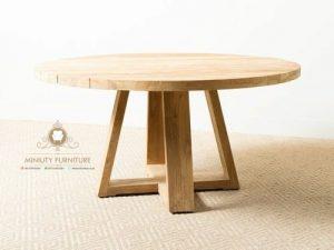 model meja cafe bulet kayu jati