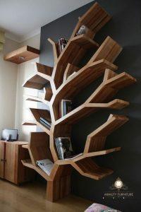 rak buku model pohon modern terbaru