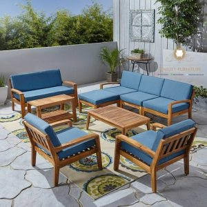 set kursi tamu outdoor minimalis teak wood