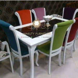 set meja makan duco putih top glass