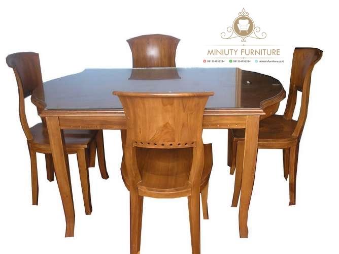 Set Meja Makan Salina Blok Kayu Jati Jepara Miniuty Furniture