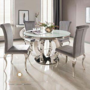 set meja makan stanlis mewah modern
