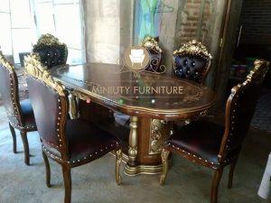 set meja makan ukir model mawar kayu jati