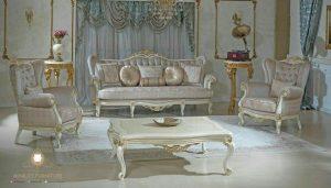 sofa tamu mewah duco putih victorian style terbaru