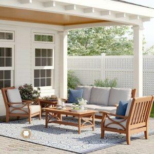 sofa tamu outdoor minimalis terbaru kayu jati