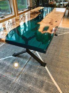 top table resin kayu jati model terbaru